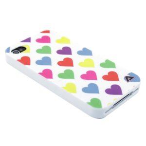 Apple iPhone 4 / 4S Sydämet Suojakuori Valkoinen
