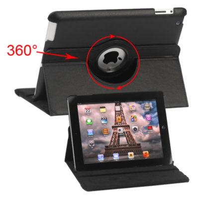 Apple iPad 2, 3, 4 Musta 360° Kääntyvä Jalusta Kotelo