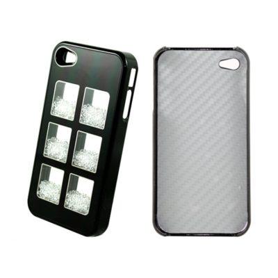 Apple iPhone 4 / 4S Musta Kuori Valkoisilla Kivillä