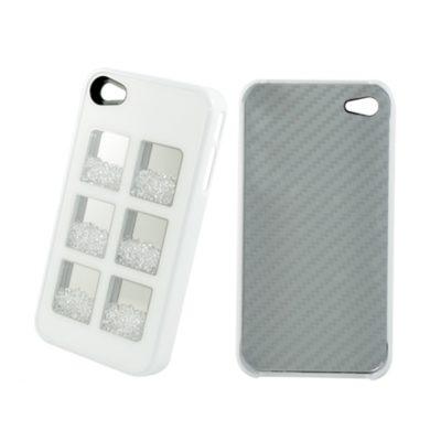 Apple iPhone 4 / 4S Valkoinen Kuori Valkoisilla Kivillä