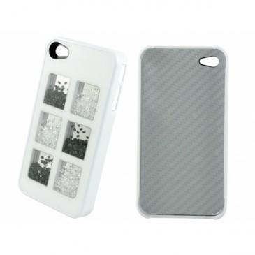Apple iPhone 4 / 4S Valkoinen Must./Valk. Kivillä