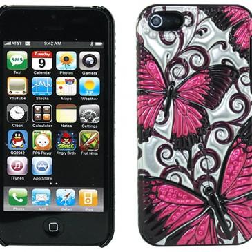 Apple iPhone 5 / 5S 3D Pinkit Perhoset Suojakuori