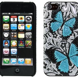 Apple iPhone 5 / 5S 3D Siniset Perhoset Suojakuori