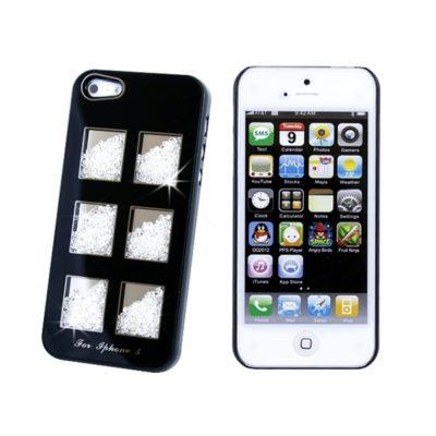 Apple iPhone 5 Musta Kuori Valkoisilla Kivillä