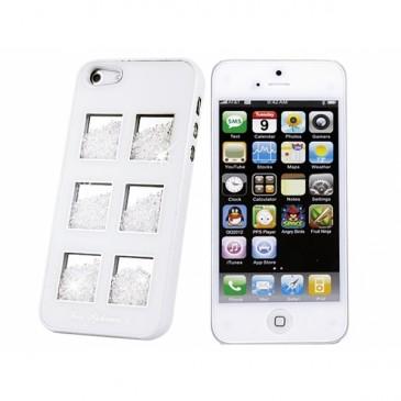 Apple iPhone 5 Valkoinen Kuori Valkoisilla Kivillä
