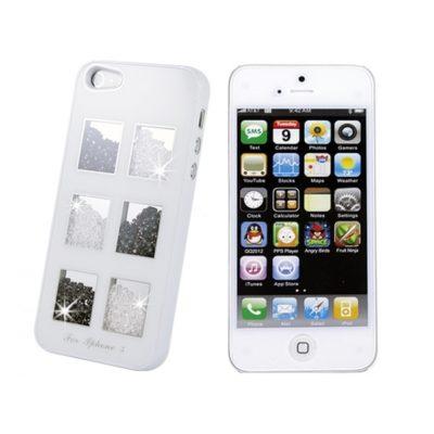 Apple iPhone 5 Valkoinen Kuori Valk./Must. Kivillä