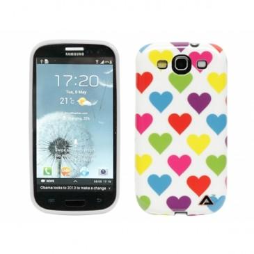 Samsung Galaxy S3 Sydämet Suojakuori Valkoinen