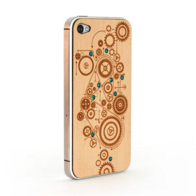 Apple iPhone 4 / 4S Gears Puukuori Koristekivillä