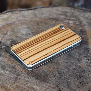 Apple iPhone 4 / 4S Laadukas Zebrawood Puukuori