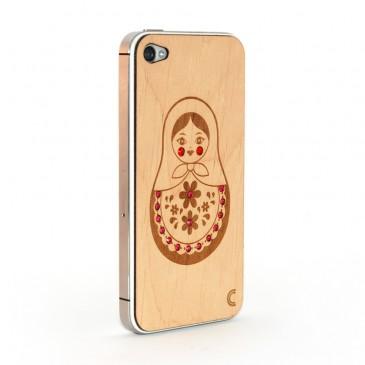 Apple iPhone 4 / 4S Maatuska Puukuori Koristekivillä