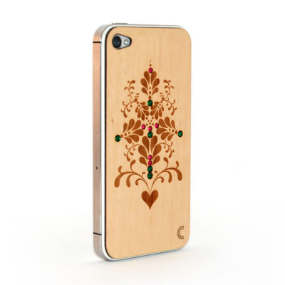 Apple iPhone 4 / 4S Puukuori Ornamentti K. kivillä