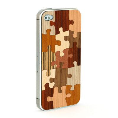 Apple iPhone 4 / 4S Palapeli Puukuori Useaa Puuta