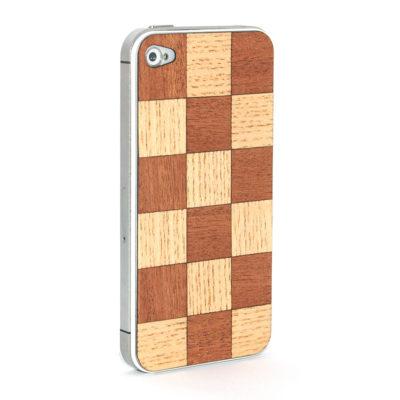 Apple iPhone 4 / 4S Shakkiruudut Puukuori