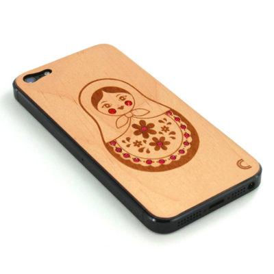 Apple iPhone 5 Maatuska Puukuori Koristekivillä