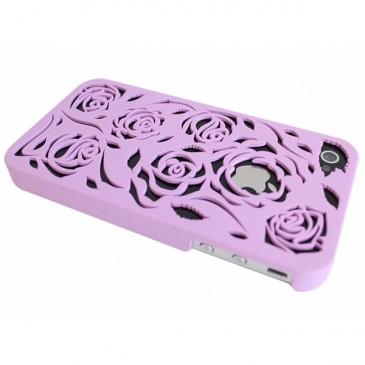Apple iPhone 4 / 4S Lila Ruusu Kuvio Suojakuori