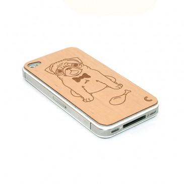 Apple iPhone 4 / 4S Mopsi Kaiverrettu Puukuori