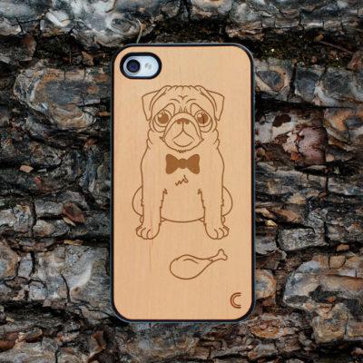 Apple iPhone 4 / 4S Mopsi Koira Leppä Suojakotelo