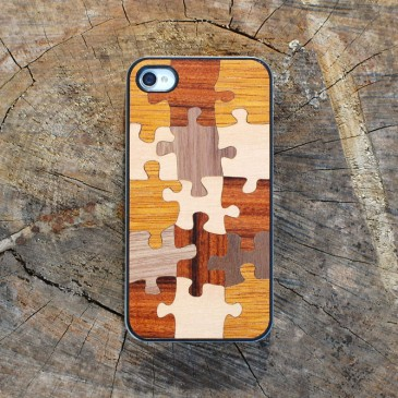 Apple iPhone 4 / 4S Palapeli Puu Suojakotelo