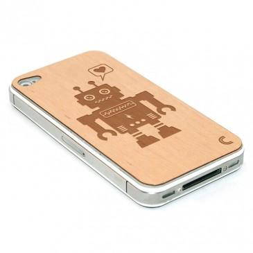 Apple iPhone 4 / 4S Robotti Kaiverrettu Puukuori