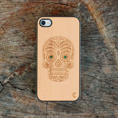 Apple iPhone 4 / 4S Sugar Skull Kotelo Koristekivillä