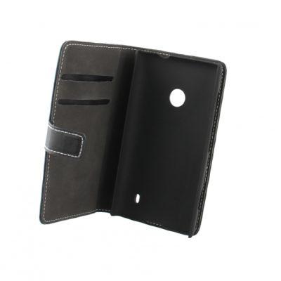 Nokia Lumia 520 Läppäkotelo Musta Nahka