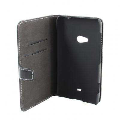 Nokia Lumia 625 Läppäkotelo Musta Nahka