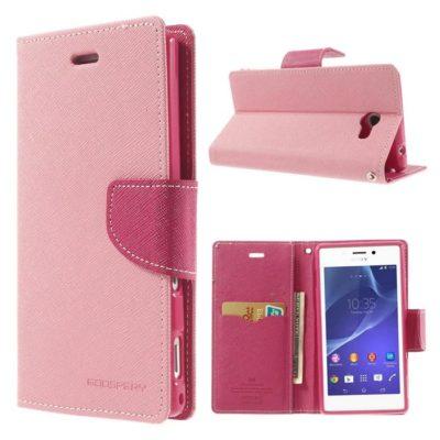 Sony Xperia M2 Vaaleanpunainen Fancy Lompakko Suojakuori
