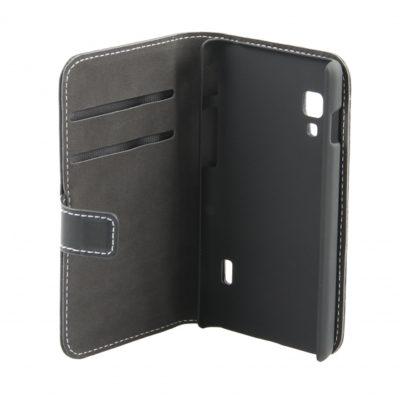LG L5 II E460 Musta Nahka Läppäkotelo Suoja