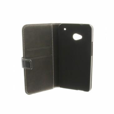 HTC One Tyylikäs Musta Nahka Suojakotelo