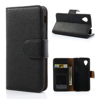 LG Nexus 5 Musta Nahka Lompakko Suojakotelo