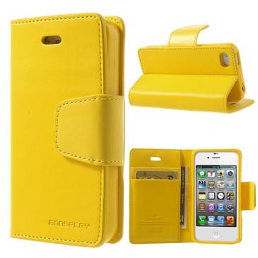 Apple iPhone 4 / 4S Keltainen Goospery Lompakkokotelo