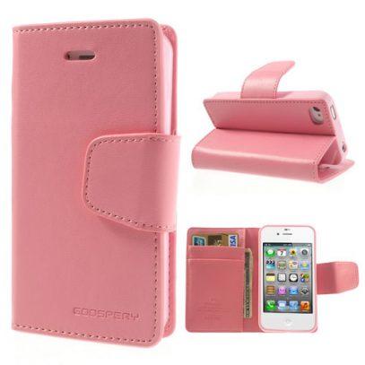 Apple iPhone 4 / 4S Vaaleanpunainen Goospery Lompakkokotelo