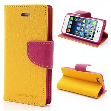 Apple iPhone 5 / 5S / SE Keltainen Fancy Lompakkokotelo
