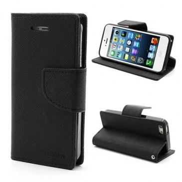 Apple iPhone 5 / 5S / SE Musta Fancy Lompakkokotelo