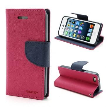 Apple iPhone 5 / 5S / SE Pinkki Fancy Lompakkokotelo