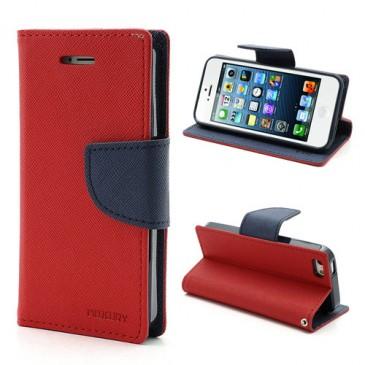 Apple iPhone 5 / 5S / SE Punainen Fancy Lompakkokotelo