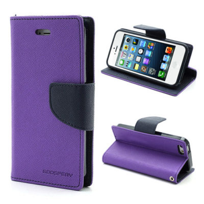 Apple iPhone 5 / 5S / SE Violetti Fancy Lompakkokotelo