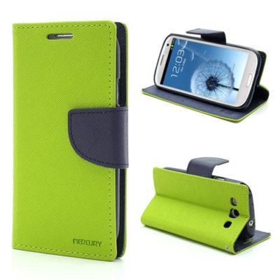 Samsung Galaxy S3 Vihreä Fancy Lompakkokotelo