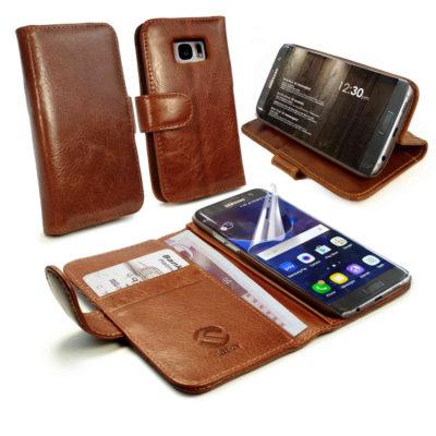 Samsung Galaxy S7 Edge Nahkakotelo Tuff-Luv Ruskea