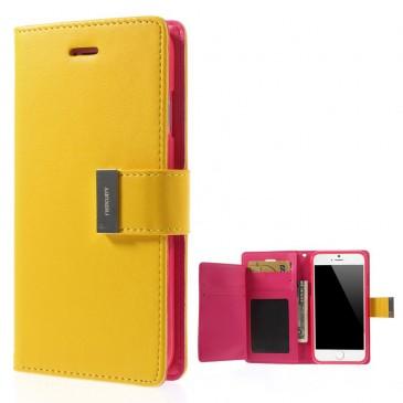 Apple iPhone 6 / 6S Keltainen Rich Diary Lompakkokotelo
