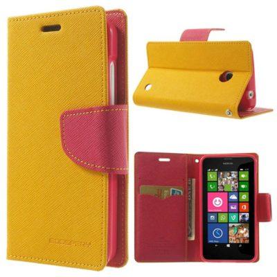 Nokia Lumia 630 / 635 Keltainen Fancy Lompakkokotelo