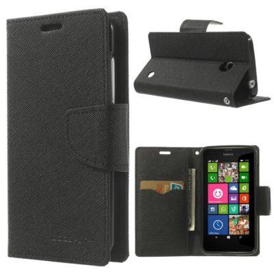 Nokia Lumia 630 / 635 Musta Fancy Lompakkokotelo