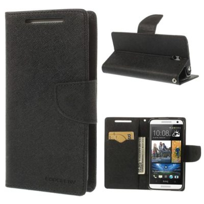 HTC Desire 610 Musta Fancy Lompakko Suojakuori