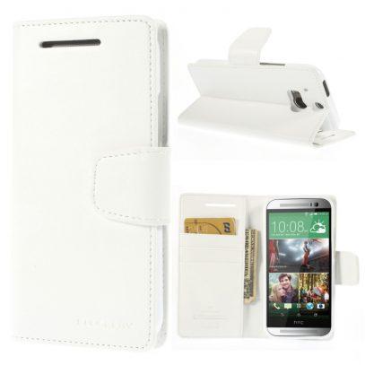HTC One M8 Valkoinen Sonata Lompakko Suojakuori