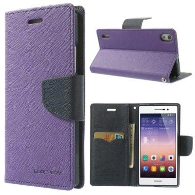 Huawei Ascend P7 Violetti Fancy Lompakko Suojakuori