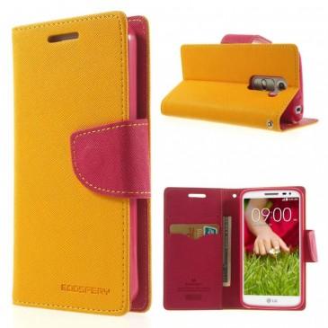 LG G2 Mini Keltainen Fancy Lompakko Suojakuori