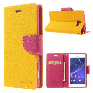 Sony Xperia M2 Keltainen Fancy Lompakko Suojakuori