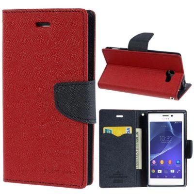 Sony Xperia M2 Punainen Fancy Lompakko Suojakuori
