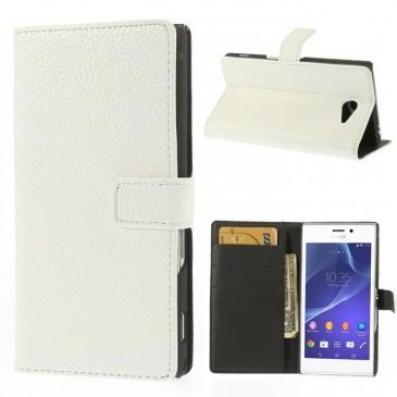 Sony Xperia M2 Valkoinen Lompakko Suojakotelo