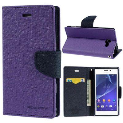 Sony Xperia M2 Violetti Fancy Lompakko Suojakuori